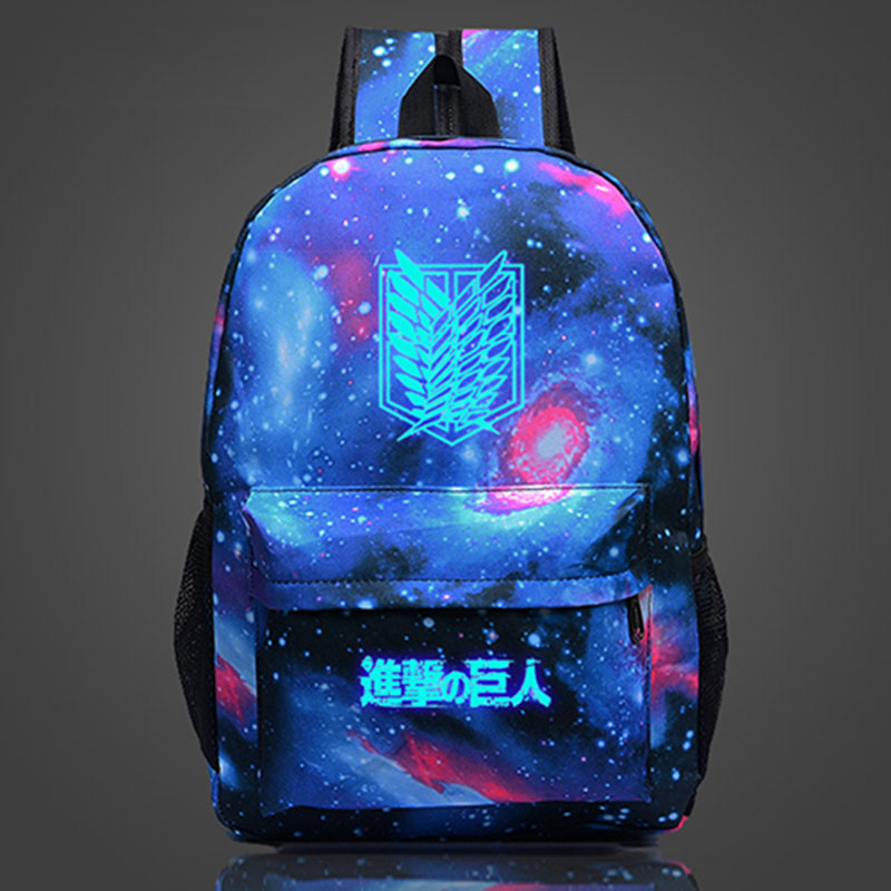 YOUYOU MOUSE Attack On Titan Backpack Glow Anime Printing Backpack Cartoon Travel Bag Nylon Galaxia School Bag for Teenagers attack on titan backpack japan anime printing school bag for teenagers cartoon travel bag nylon mochila galaxia