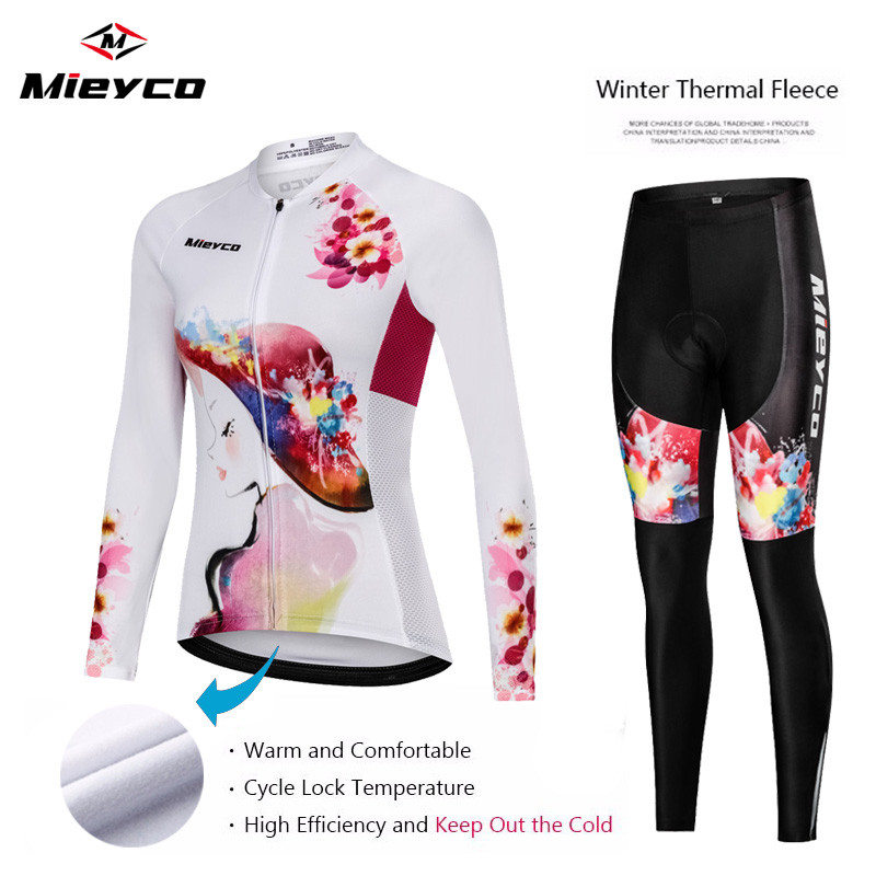 2019 Newest Women Winter Cycling Clothing Set Girl Keep Warm thermal Fleece Bicycle Clothes Long Sleeve Ropa Ciclismo Mujer Suit