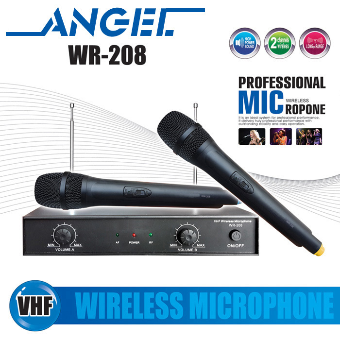 5 year warranty free shipping professional wr 208 vhf handheld wireless microphone system for. Black Bedroom Furniture Sets. Home Design Ideas