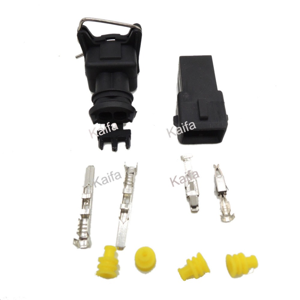 10 set EV1 Fuel Injector Plug   Car Waterproof 2 Pin way Electrical Wire Connector Plug automobile Connectors Free shipping black 50 sets 4 pin dj3041y 1 6 11 21 deutsch connectors dt04 4p dt06 4s automobile waterproof wire electrical connector plug