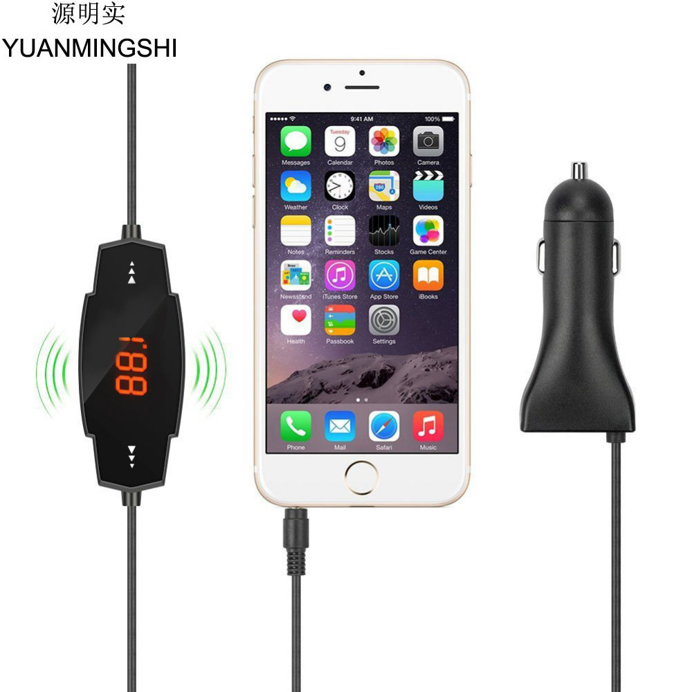 YUANMINGSHI Car Auto Radio Stereo FM Transmitter with 2.4A USB Car Charger Hands-free For MP3 Smart Phones