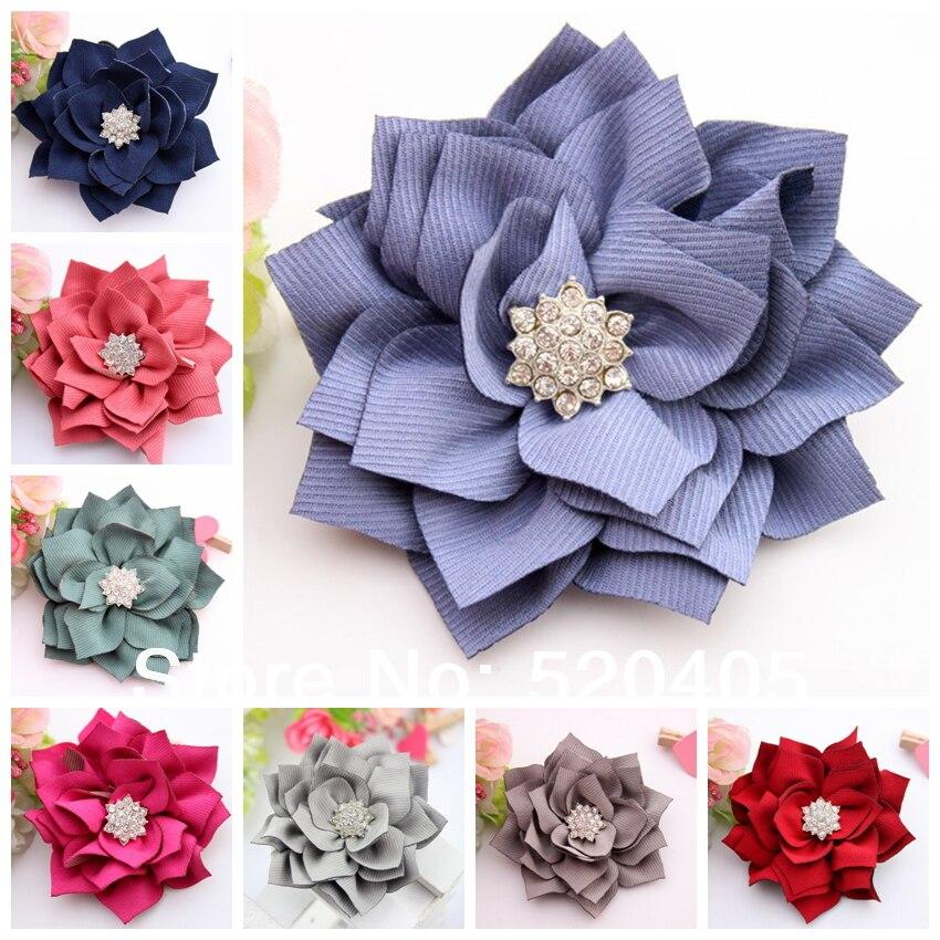 Оптовая продажа 50 шт. текстурированные ленты волосы цветы канзаши Ткань с цветами и стразами для heaswear 3.1 дюймов