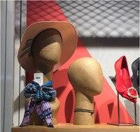 Лучшие ретро модель головы шарф и шапка Дисплей Kraft Бумага манекен головы Дисплей окна