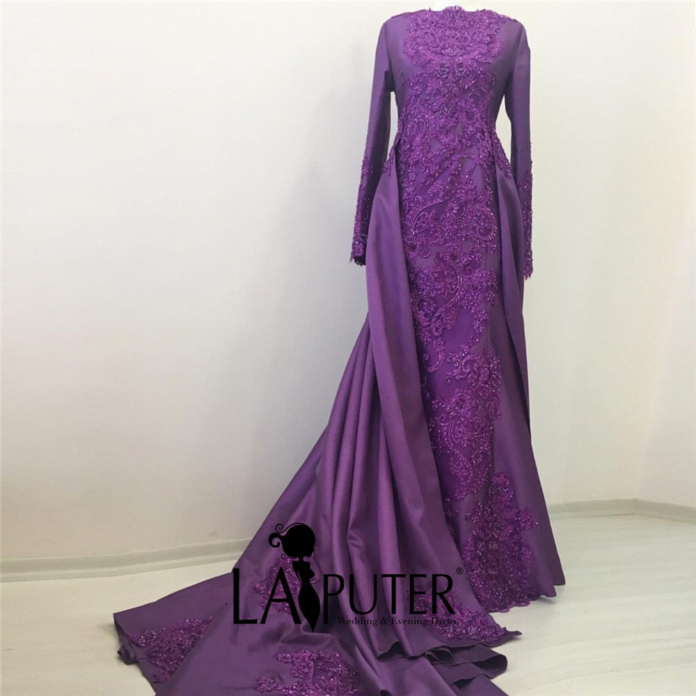 robe de soiree 2017 Long Sleeves Purple Evening Dress with Removable ...
