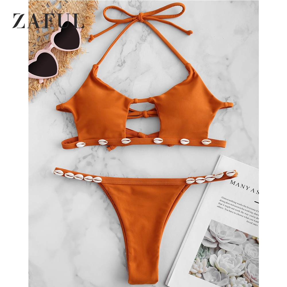 ZAFUL Shell Decorated Halter Bikini Set Women Swimsuit Swimwear Sexy Bralette Cut Out Bikini Hollow Out Solid Shell Bathing Suit