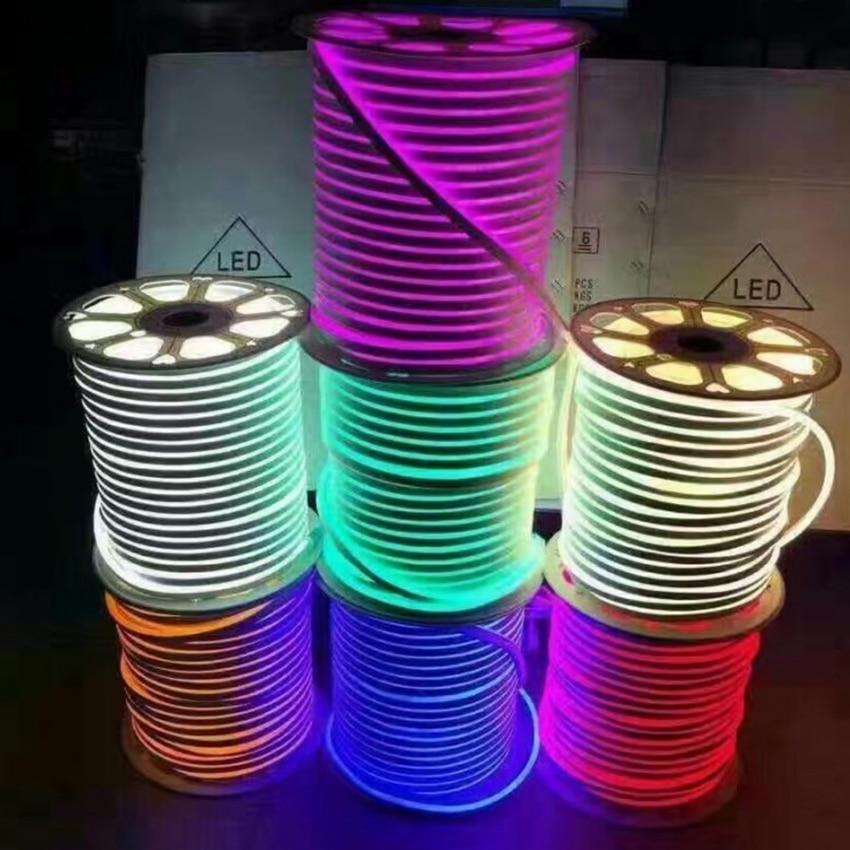 все цены на DC 12V 24V LED Neon Rope light SMD 2835 120LEDs/m Waterproof flexible Soft strip BAR Lights 3-6Leds Cuttable 1m 5m 20m 50m 100m онлайн