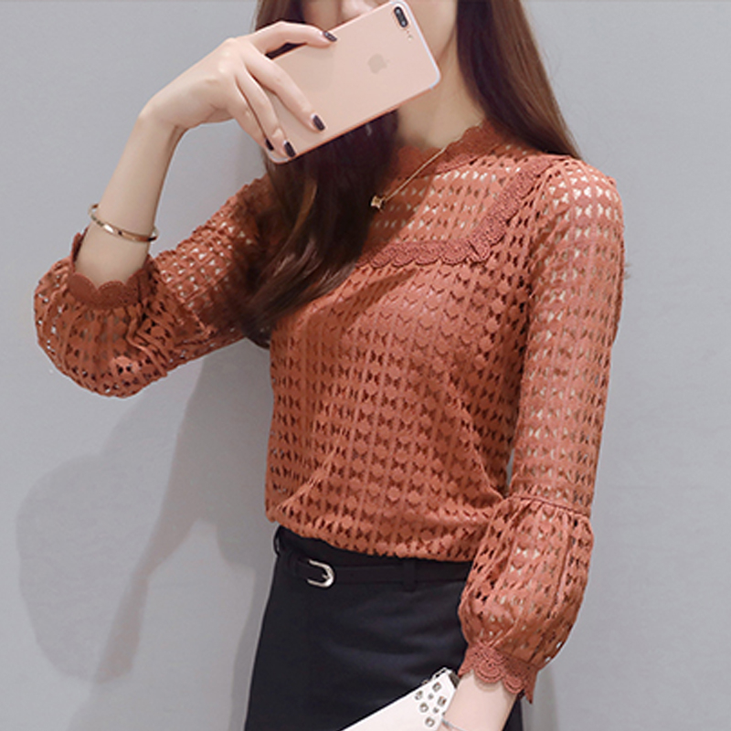 Women   Blouses   2018 New Long Sleeve Women tops Lace O-neck ruff Sleeve Fashion Autumn Spring brown Yellow   Blouse     Shirts   19J