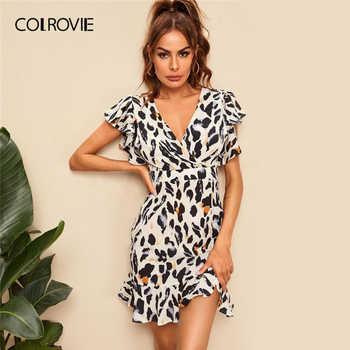 COLROVIE Deep V Neck Ruffle Hem Leopard Print Surplice Front Dress Women 2019 Summer Boho Cap Sleeve High Waist Short Dresses - DISCOUNT ITEM  40% OFF All Category