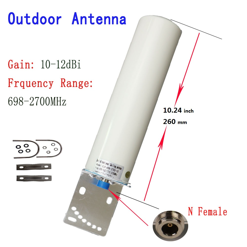 12DBi Omni Outdoor Antenna For 2G 3G 4G 700 800 900 1800 1900 2100 2600 GSM Repeater Cellular Amplifier Mobile Internet Antenna