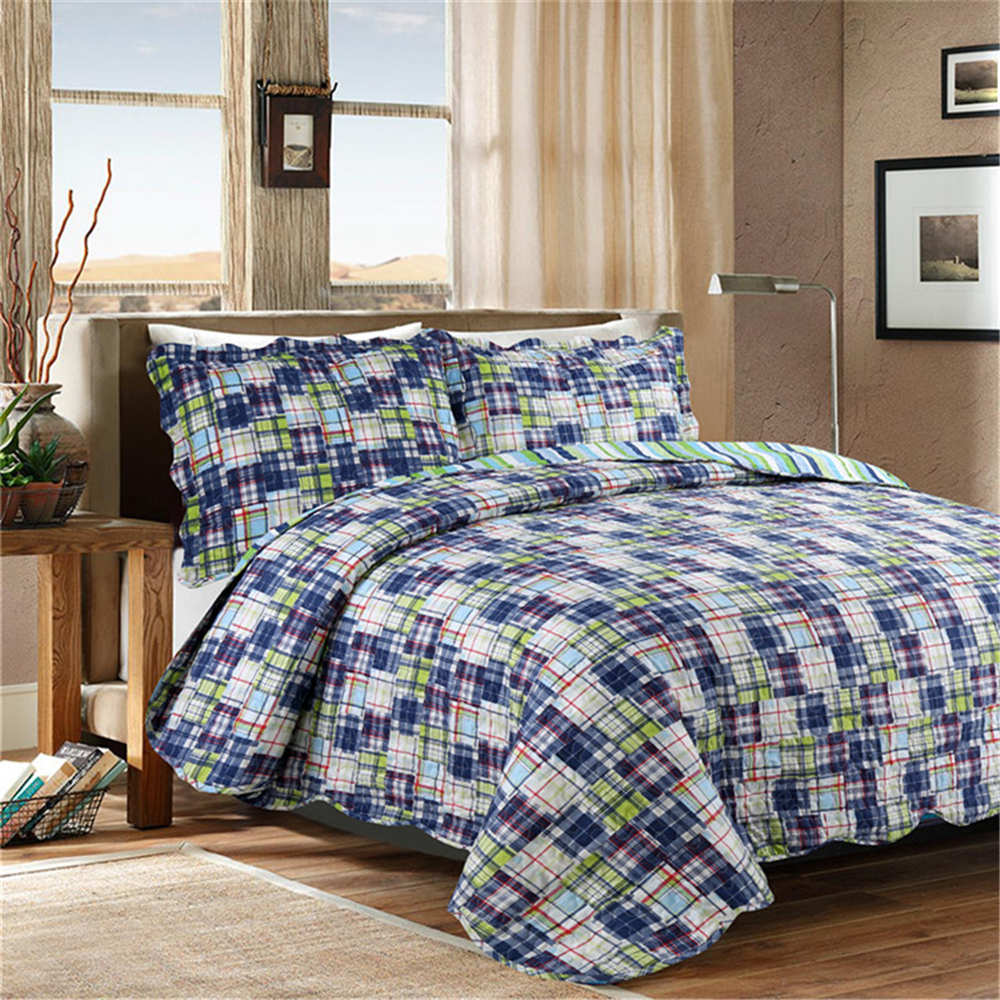 Morden Fsahion Stripe Quilt Set Quilted bedding Wash Cotton Quilts Bedspread for Bed Covers Twin Size