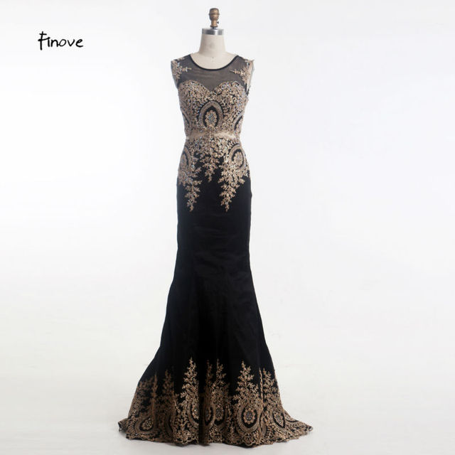 Finove Black Mermaid Evening Gown Dresses 2018 New Style Vestido de ...