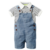 Newborn Baby Clothing Set for Boys Summer Set Hat+Striped Romper+blue Cloth Overall 3Pcs Casual Children Boy Clothes Outfit