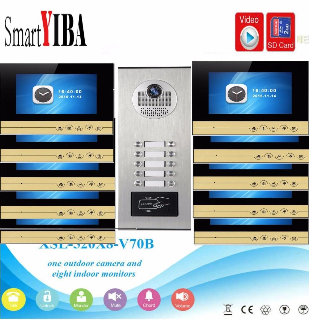 SmartYIBA 7Inch Monitor Video Door Phone Doorbell Intercom RFID Access Door Camera With SD Card Video Recording For 10 Apartment