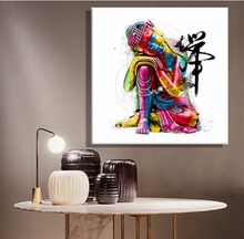 Oil Canvas Paintings Colorful Buddha Sitting Wall Art Decoration Painting Home Decor Prints On