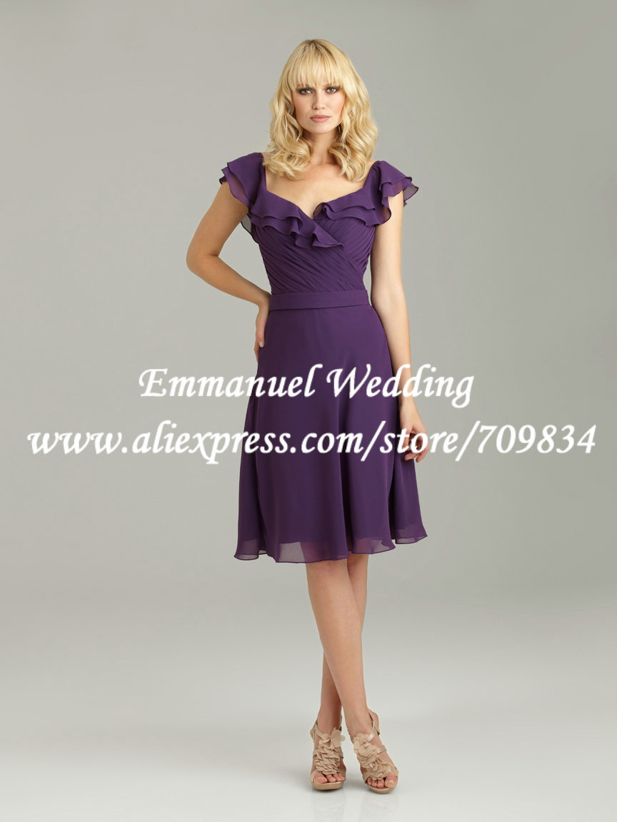 Custom made cap sleeves sexy open back 2014 chiffon for Purple dresses for weddings knee length