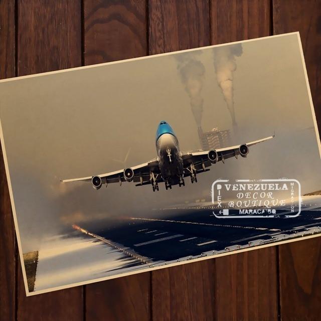Boeing 747 jumbo jet vintage pintura madera aleación marco DIY Wall ...