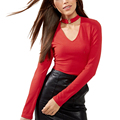 New arrival Elegant halter knitted sweater women sexy Choker Ring v neck Red jumpers pullover 2017 casual long sleeve pull femme