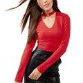Nueva llegada halter Elegante jersey de punto atractivo de las mujeres de Gargantilla Anillo v cuello Rojo pullover jumpers 2017 informal de manga larga sudadera femme