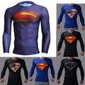 Homens compressão armadura maravilha camisa superman/batman camisa exercício t sob tops homens fitness camisetas camisetas de manga longa