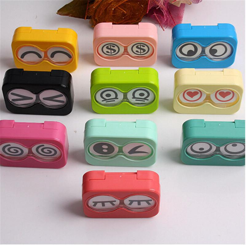 Quality Eye Care Random Colors Cute New Colorful Mini Storage Contact Lens Box Container Holder Case Tweezers Set