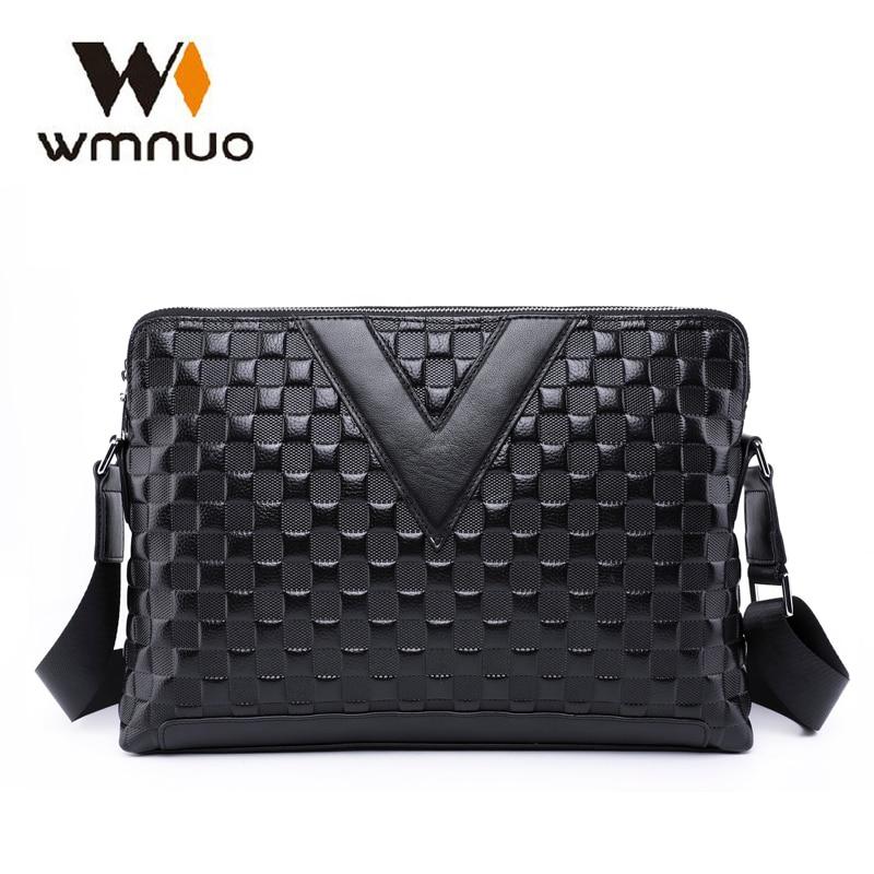 Wmnuo Men Handbag Shoulder-Crossbody-Bag Embossing Messenger Genuine-Cow-Leather High-Quality