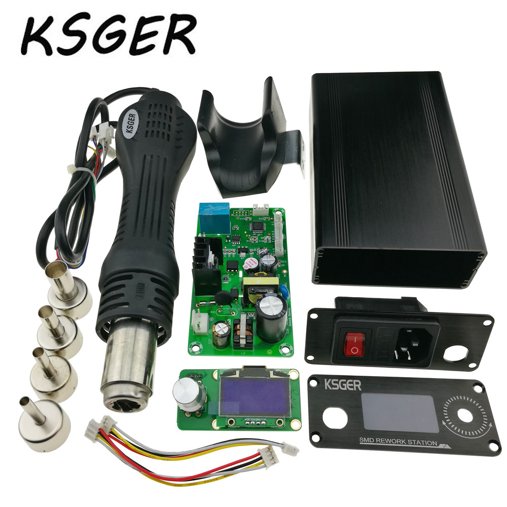 KSGER 1.3 Size Screen DIY 858D Hot Air Gun STM32 OLED Temperature Controller 4pcs Nozzles Gun Holder Metal Alloy Case Cover ゲーム ポート ピン
