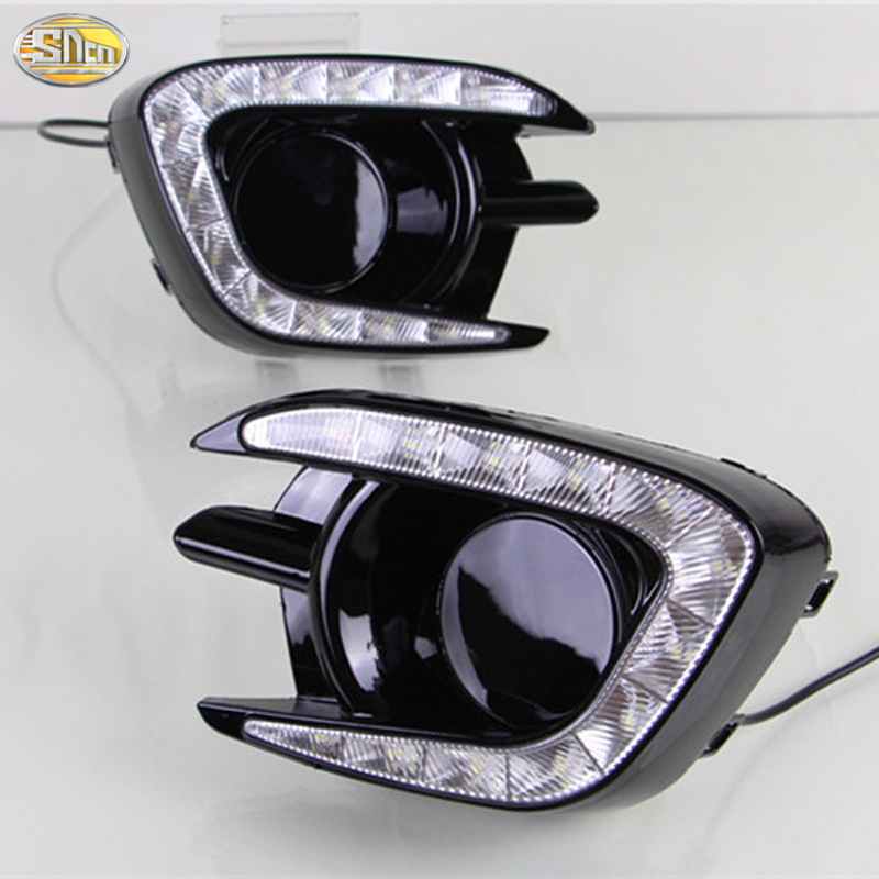 SNCN LED Daytime running lights for Mitsubishi Pajero Sport 2013 2014 2015 LED DRL fog lamp cover car styling accessories