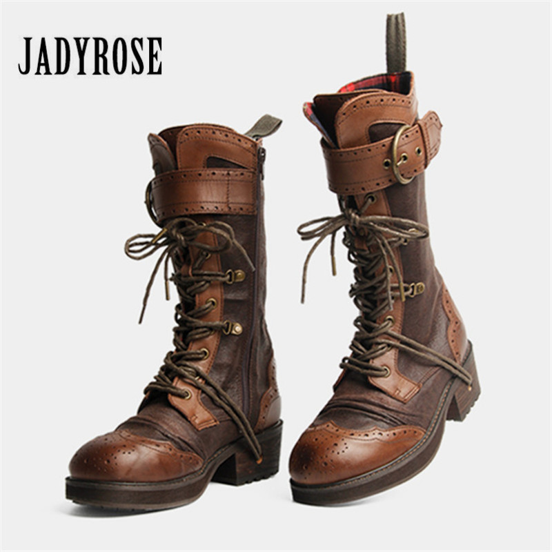 Jady Rose Retro British Women Riding Boots Genuine Leather Lace Up High Boots Female Designer Straps