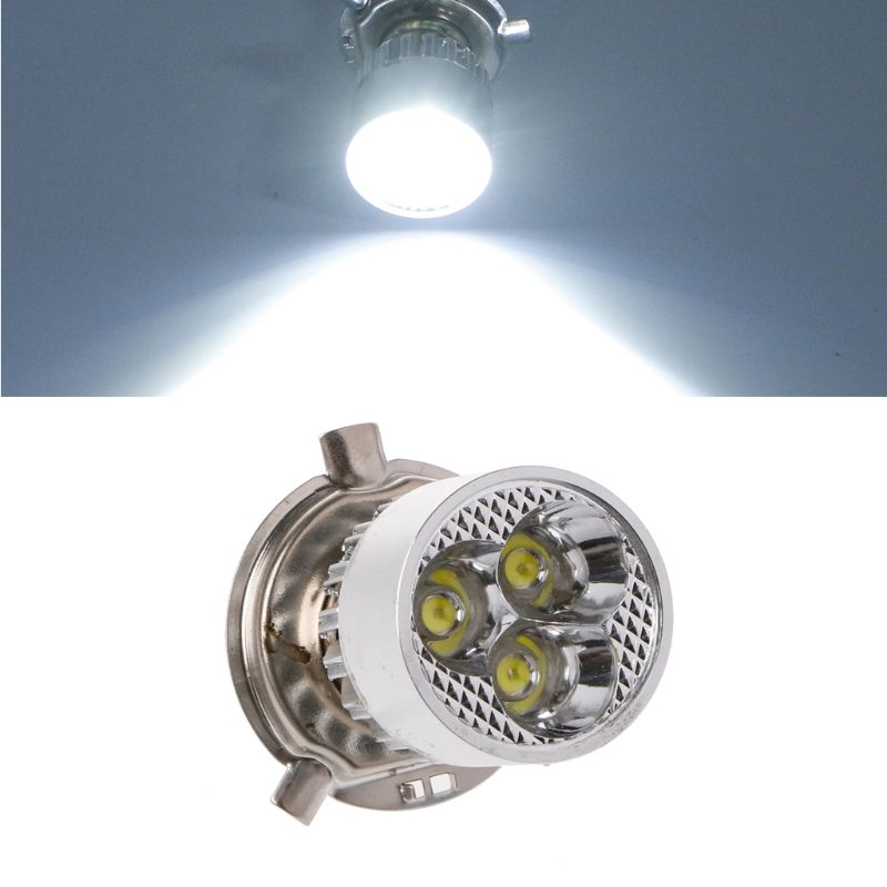 DC 12-80V H4 3 LED Motorcycle Headlight Bulb Hi/Lo Scooter Lamp ATV Fog Light
