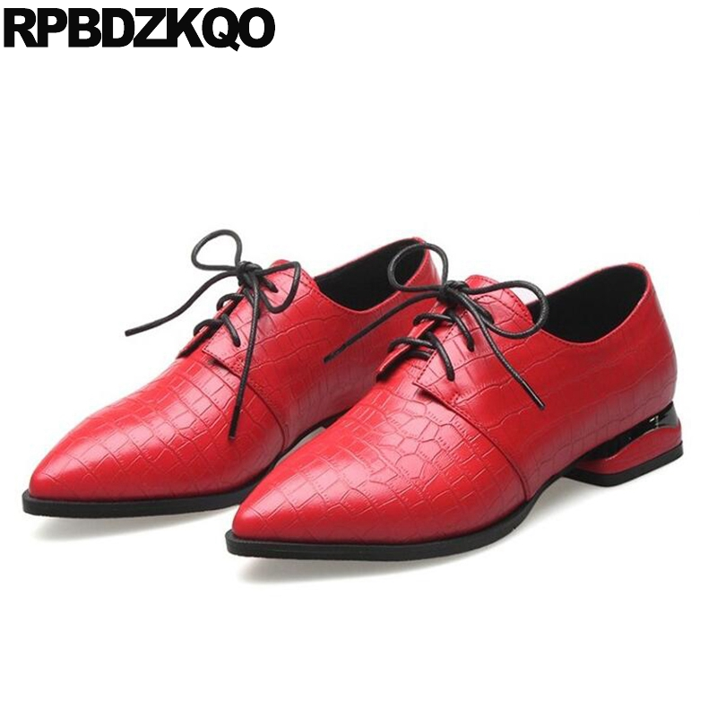 Women Oxfords British Style Pointed Toe Size 33 Red Ladies Genuine Leather Slip On Lace Up Flats Beautiful Shoes 2017 Fashion odetina 2017 new designer lace up ballerina flats fashion women spring pointed toe shoes ladies cross straps soft flats non slip