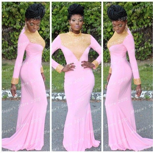 Pink Long Prom Dresses 2015
