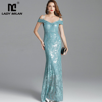 Women's Runway Dresses Spaghetti Straps Sexy Off the Shoulder Party Prom Embroidery Sequined Lace Fashion Designer Long Dresses