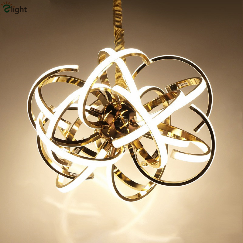 Post modern plate chrome gold metal led pendant light for Lustre suspension triple