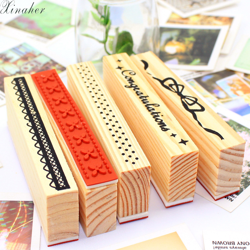 XINAHER cartoon elongated pattern decoration stamp wooden rubber stamps for scrapbooking DIY craft stationery standard stamp