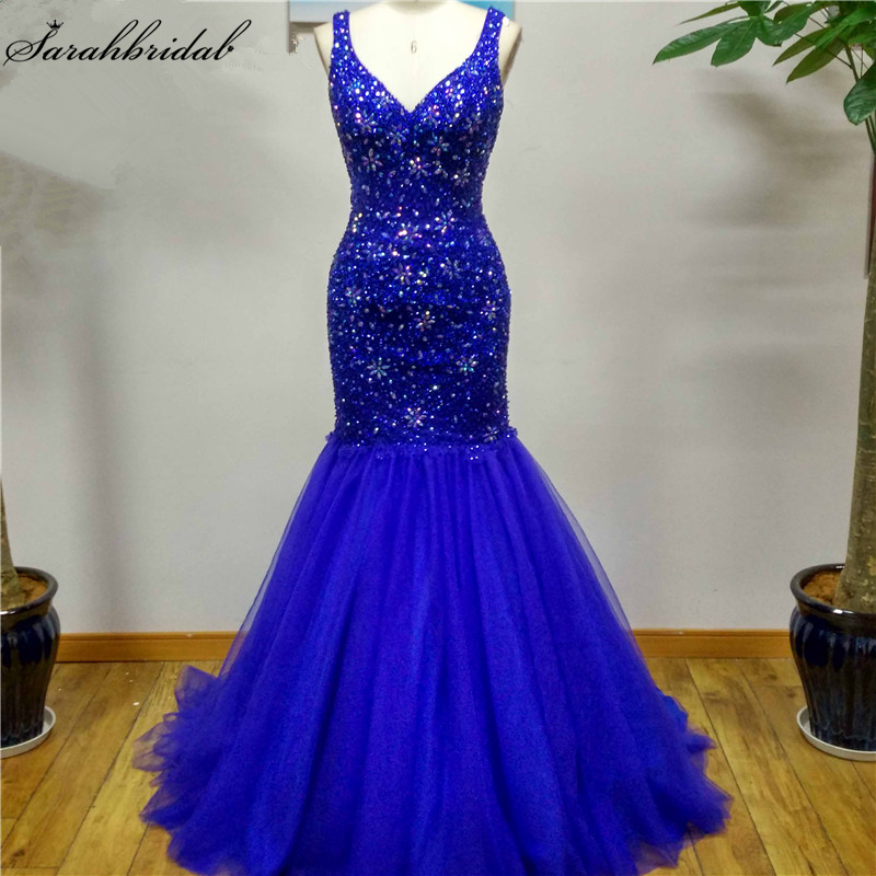 Sexy Royal Blue Criss Cross Mermaid   Evening     Dresses   Crystal Bead Sequin Formal   Dresses   Real Photos Vestido De Festa LSX049