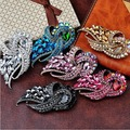 Luxury 3.8 Inch Huge Women Brooch Elegant Big Glass Crystal Wedding Brooch Top Quality Vogue Hijib Clip