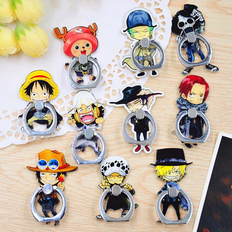 Anime One Piece Luffy Straw Hat 360 Degree Metal Finger Ring Mobile Phone Smartphone Stand Holder For Iphone Ipad