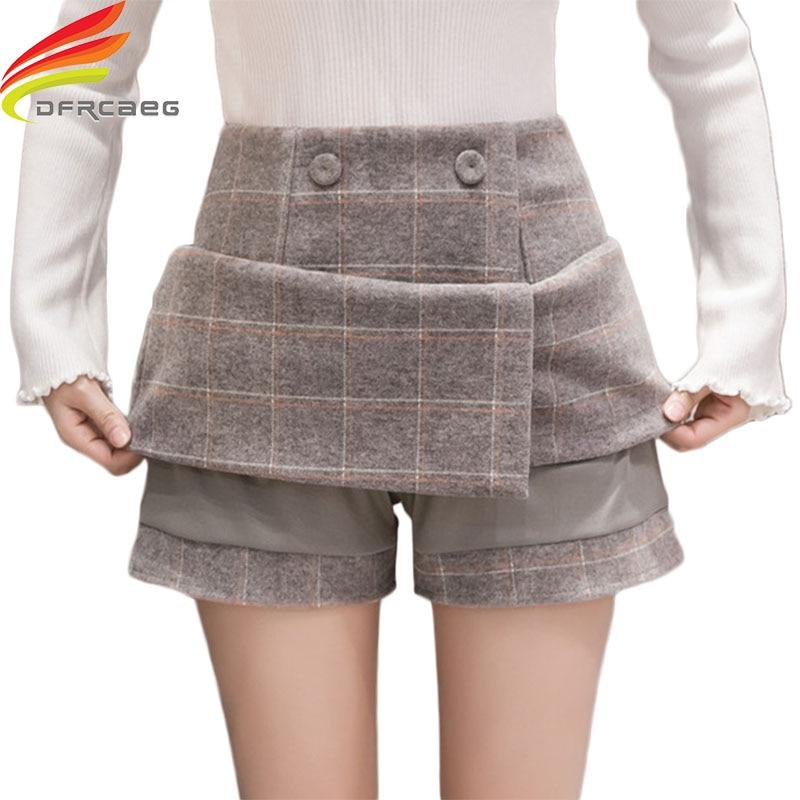 Winter Wool Plaid Skirt Women 2018 New Women Short Skirts Fashion 2018 Gray Black High Waist A Line Skirt Ladies Jupe Femme Saia