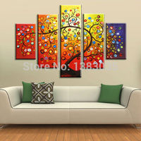 Hand Painted Wall Art Happy Fruit Of Tree Oil Painting Modern Abstract 5 Piece Canvas Decoration Picture Set For Living Room