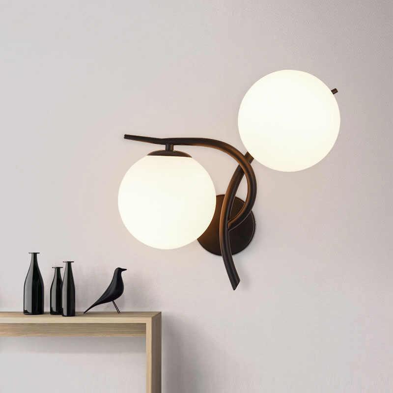 Mur LED lampes moderne Simple chambre applique lumière intérieur salon couloir éclairage barre café verre boule appliques E27 soutien-gorge