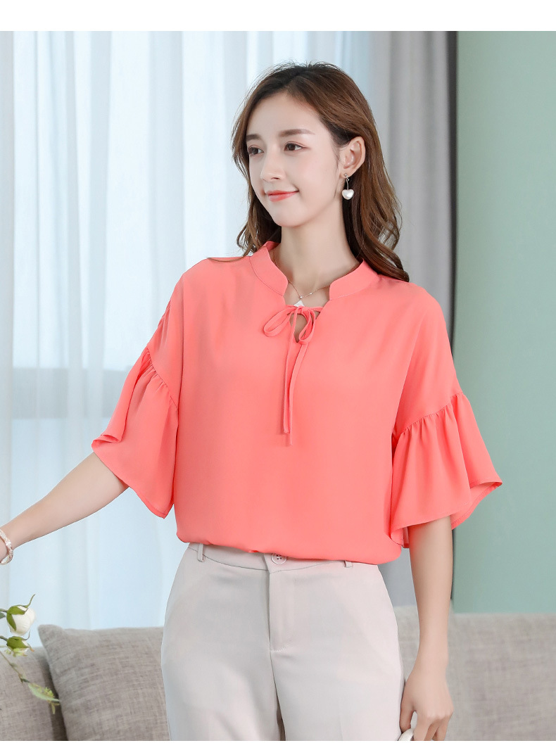 2019 Spring Summer Blouses New Korean Women Ruffles Half Sleeve