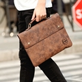 New Fashion Retro Crazy Horse PU Leather Men Classic Briefcase Envelope Daily Business File A4 Document Bags Handbag Brown