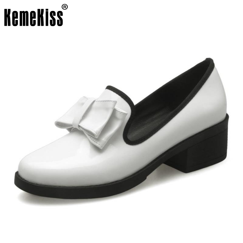 Spring Shoes Woman Candy Colors Bowtie Square High Heeled Women Patent Leather Casual Fashion Slip-on Women Shoes Size 33-43 vintage big bowtie women shoes bright color high quality patent pu leather low heel shallow slip on shoes woman xwd3767
