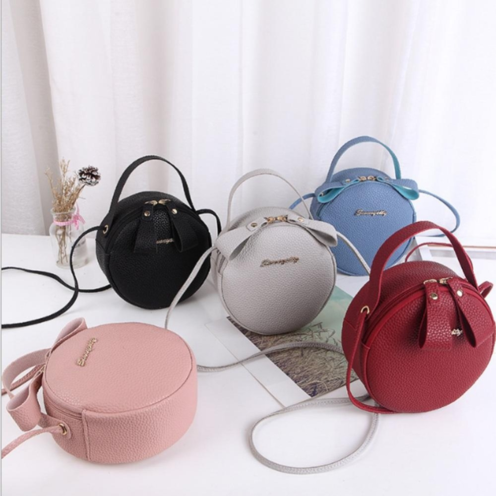 2019 New Fashion Women Bag Simple Circular Messenger Female Mini Round Handbag Pu Leather Ladies Crossbody Bolsas