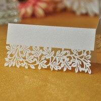 100 teile/los Weiß Elfenbein Blatt Tabelle Dekoration Lieferanten Name Tischkarte Recyclingpapier Für Partei Oder Hochzeit Lace Cut Karten