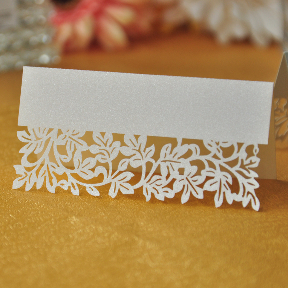 100pcs/lot White Ivory Leaf Table Decoration Supplier Name Place Card Recycled Paper For Party Or Wedding Lace Cut Cards 1 design laser cut white elegant pattern west cowboy style vintage wedding invitations card kit blank paper printing invitation