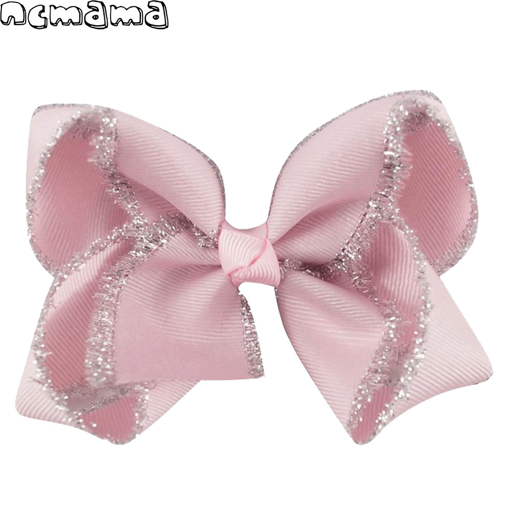 2pcs/lot 4 Inch Girls   Headwear   Glitter Solid Grosgrain Ribbon Hairbows with Clip Handmade Boutique Hair Grips For Kids