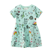2019 Brand 100% Cotton Princess Dress for Girl Clothes Baby Girls Summer Dress Unicorn Dresses Kids Clothing Children Vestidos