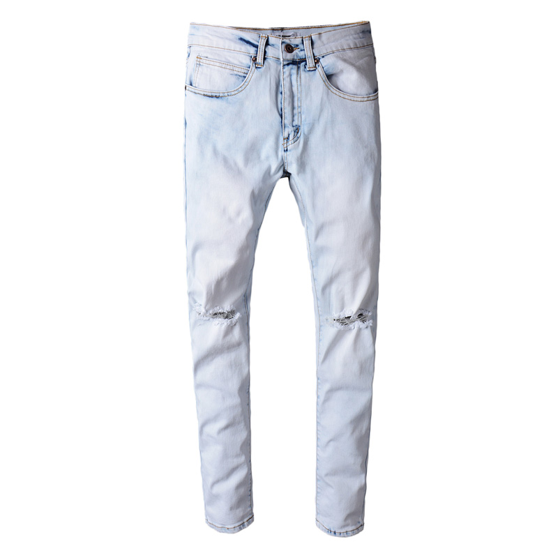 high quality  Men Jeans Slim Straight Pants Spring and summer Casual Pants  Brand biker jeans