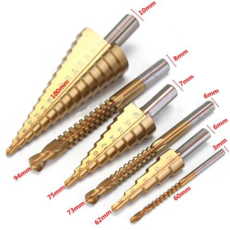 3Pcs 4-32mm HSS Steel Titanium Step Drill Bits with 3pcs HSS Twist Drill Bits Set for Hole Cutter Metal Woodworking drill Bit free shipping of 1pc hss 6542 made cnc full grinded hss taper shank twist drill bit 11 175mm for steel
